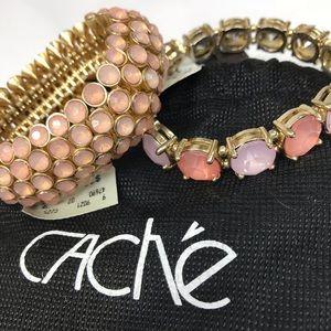 BNWT 2 CACHÉ Peach Pink Gold stretch Bracelets